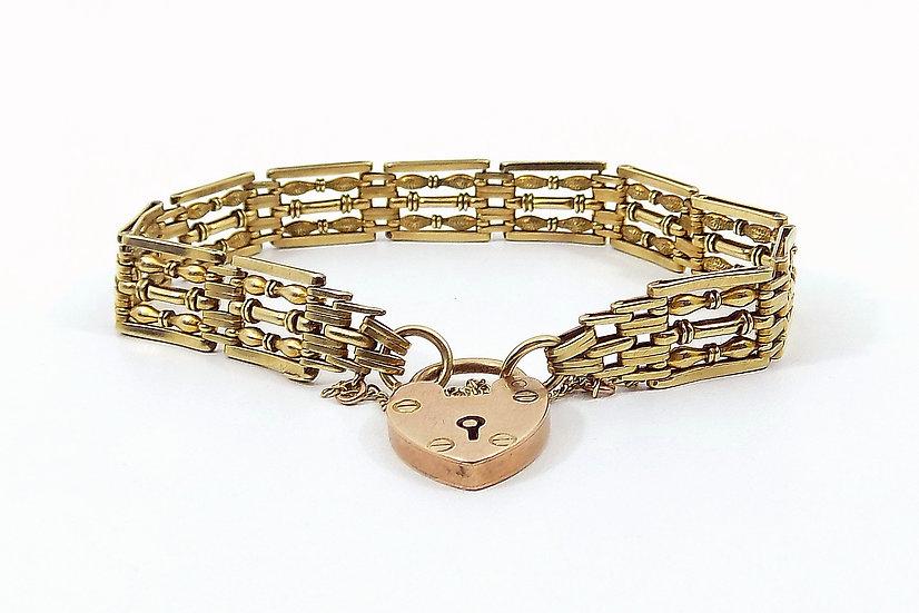 Vintage 9ct Gold Fancy Link Gate Bracelet, With Heart Padlock
