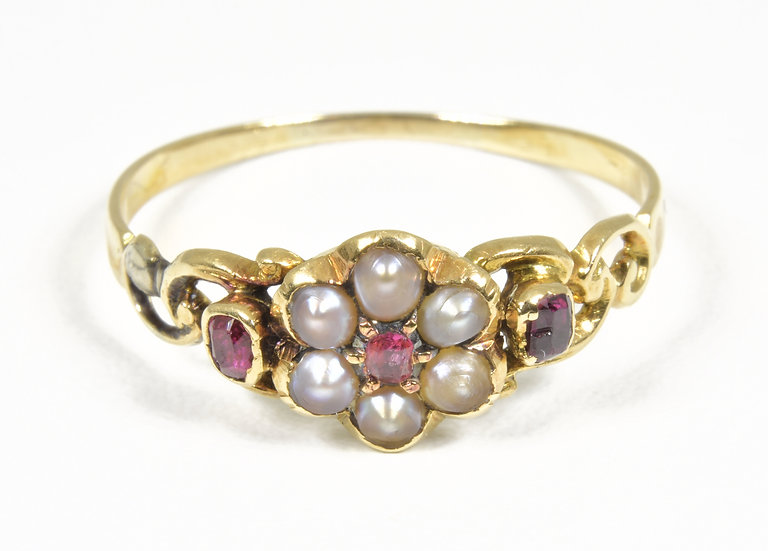 Antique Georgian 18ct Gold Ruby & Seed Pearl Memorial Ring, c1820