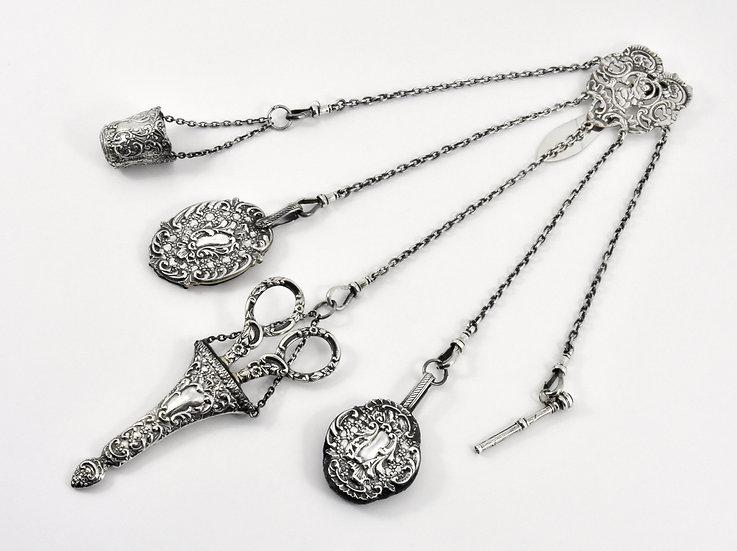 Antique English Edwardian solid Silver Chatelaine, (Reynolds & Westwood, 1901)