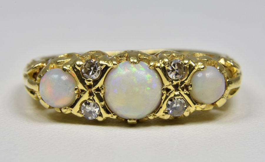 Vintage 18ct Gold Fire Opal & Diamond Ring, (London, 1969)