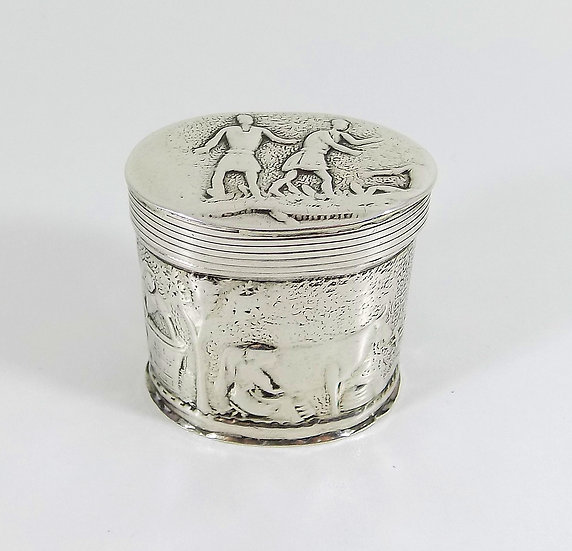 Antique Dutch Solid Sterling Silver Snuff/Peppermint Box, 1887