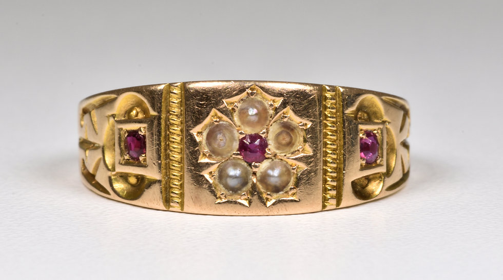 Antique Victorian 15ct Gold Ruby & Seed Pearl Ring (Birmingham,1889)