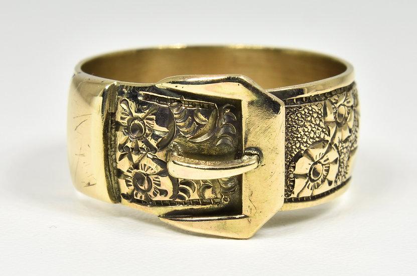 Vintage 9ct Gold Buckle Ring, (Birmingham, 1973)
