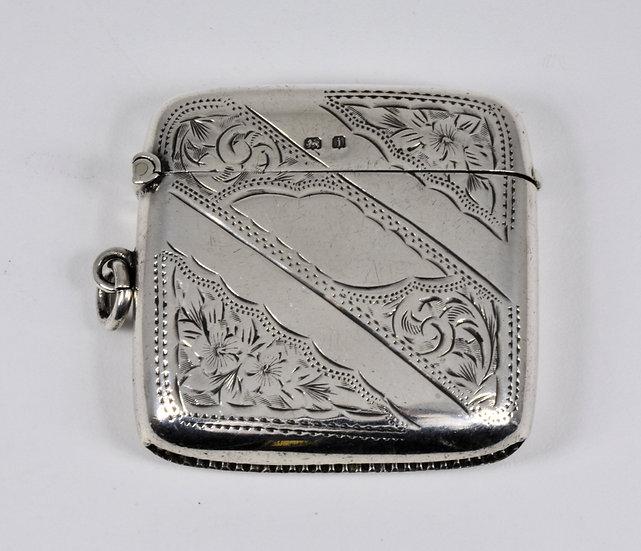 Antique English Edwardian Solid Silver Vesta Case (T Heatley, 1908)