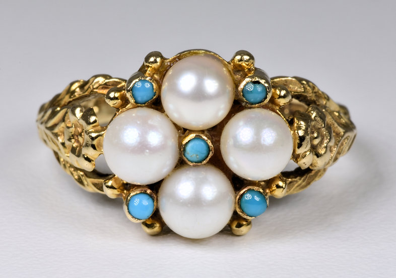 Vintage 9ct Gold Turquoise & Pearl Ring, (London, 1971)