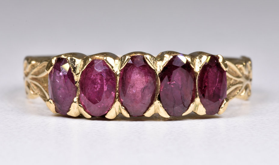Vintage 9ct Gold 5 Stone Ruby Ring, (London, 1978)