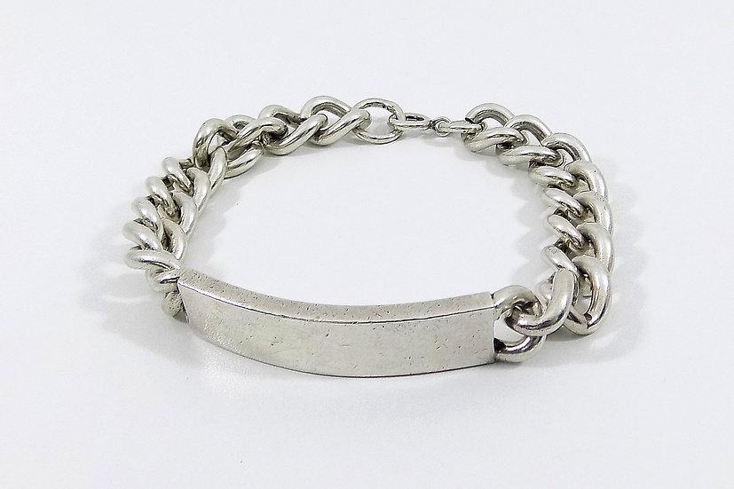 Vintage Mens Solid Silver Identity Bracelet, Weight 61.13g, 1976