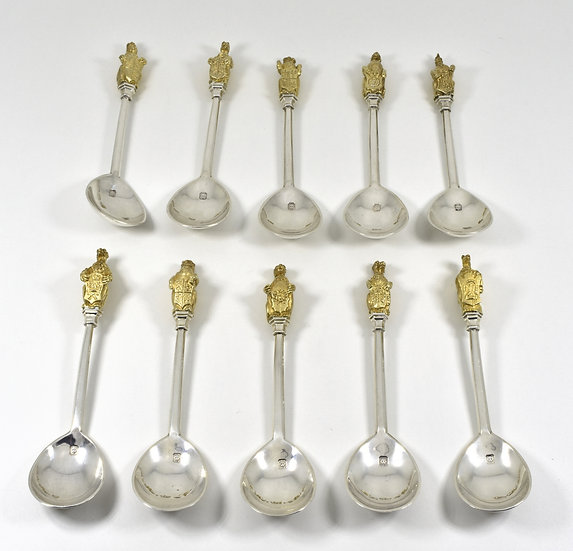 The Queens Beasts Spoons, Solid Silver & Gilt, Set of 10, (R. Comyns,1972)