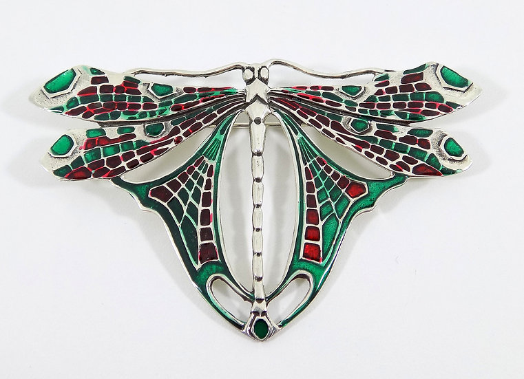 Antique Art Nouveau Sterling Silver & Enamel Large Dragonfly Brooch/Pendant
