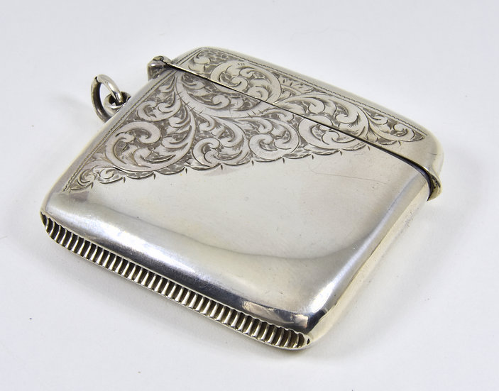 Antique English Large Solid Silver Vesta Case, (Charles Perry & Co, 1919)