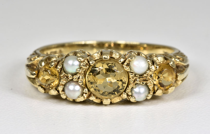 Vintage 9ct Gold Citrine & Seed Pearl Ring, (London,1967)