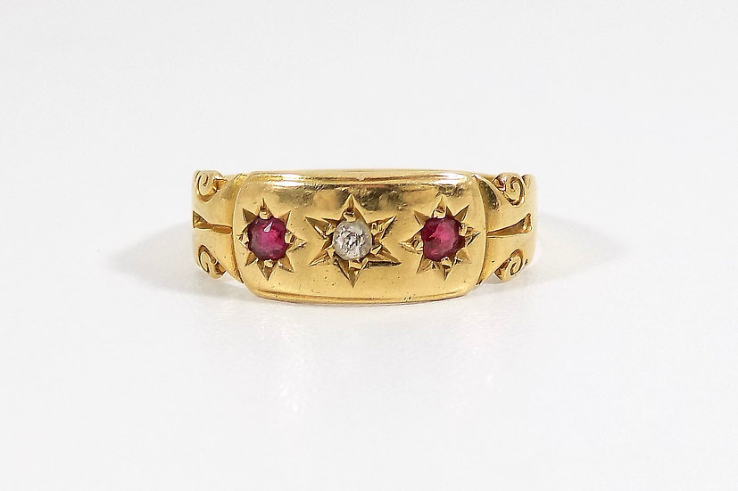 Antique Edwardian 18ct Gold Ruby & Diamond Ring, 1901