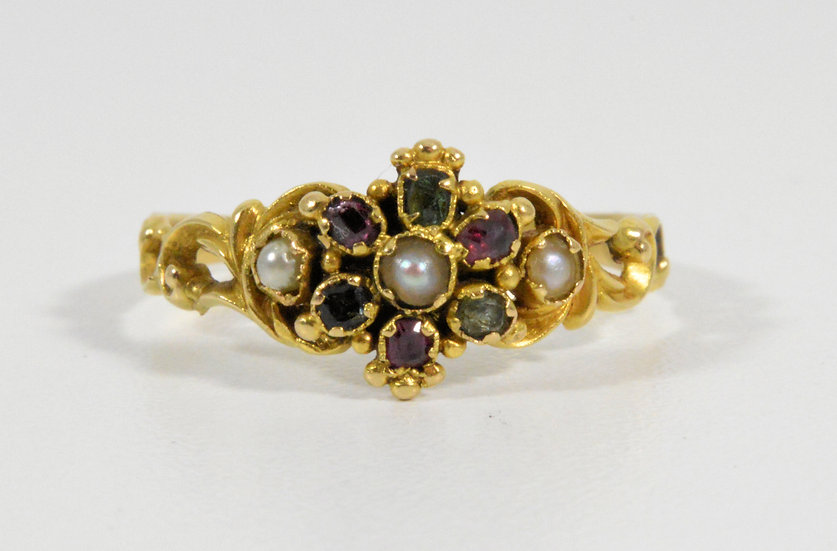 Antique Georgian 18ct Gold Emerald, Almandine Garnet & Pearl Memorial Ring