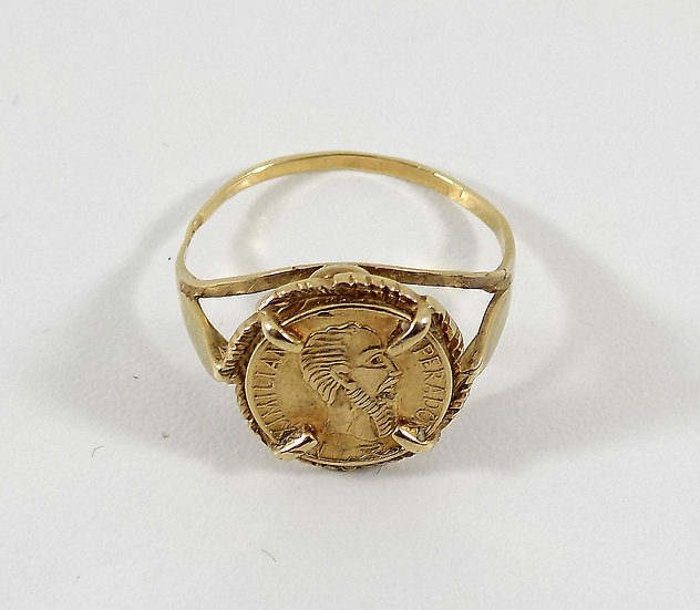 Vintage 9ct Gold Mexican Peso Ring, UK Size L, U.S. Size 5 3/4