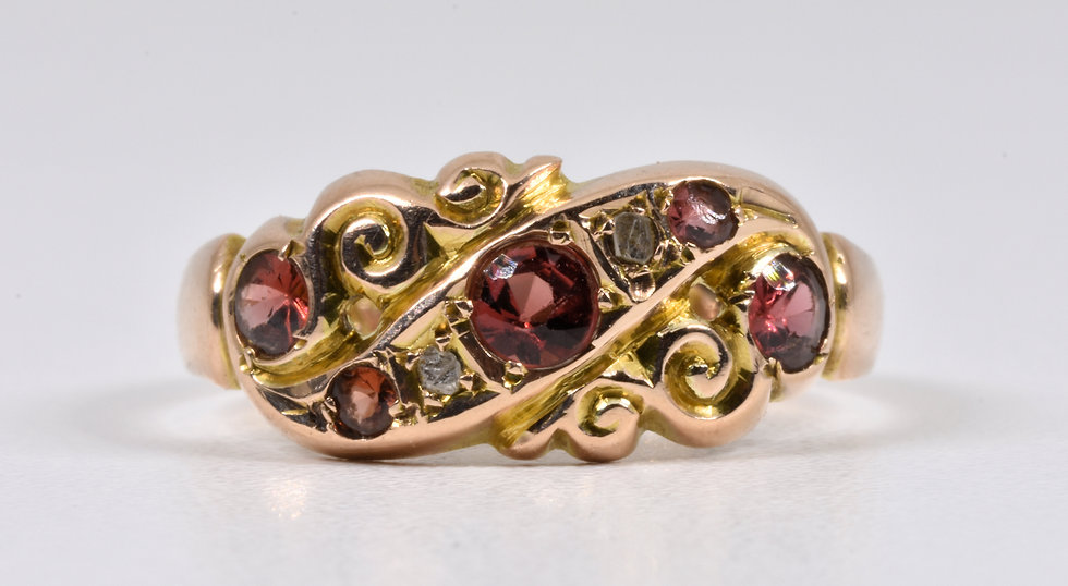 Antique George V 9ct Gold Garnet & Diamond Ring, (Chester,1913)