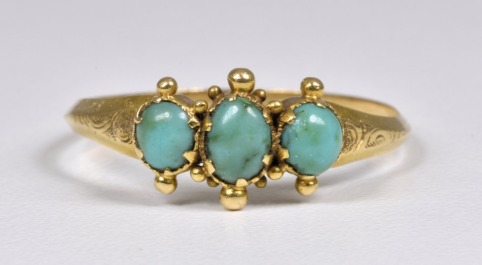 Antique Victorian Aesthetic 9ct Gold Turquoise Ring, c1880