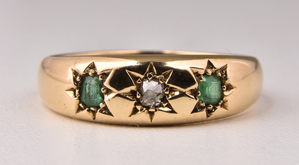 Antique Victorian 18ct Gold Emerald & Diamond Gypsy Ring, 1895