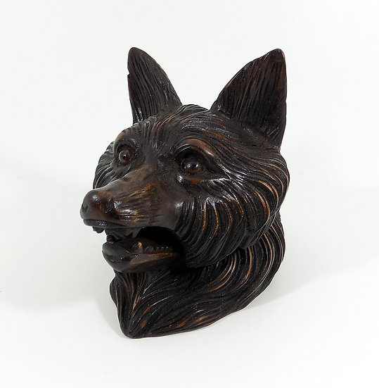 Hand Carved Black Forest Inkwell, Fox Head, Glass Eyes, c1900