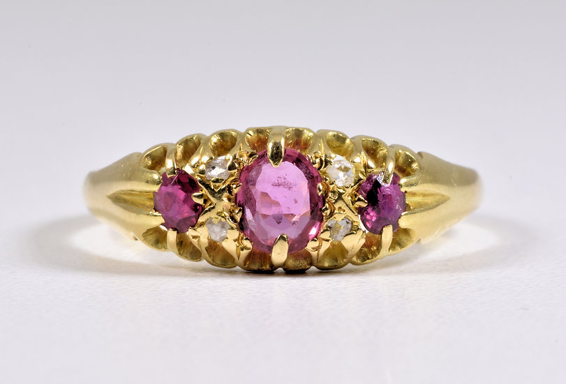 Antique Victorian 18ct Gold Ruby & Diamond Ring, c1880