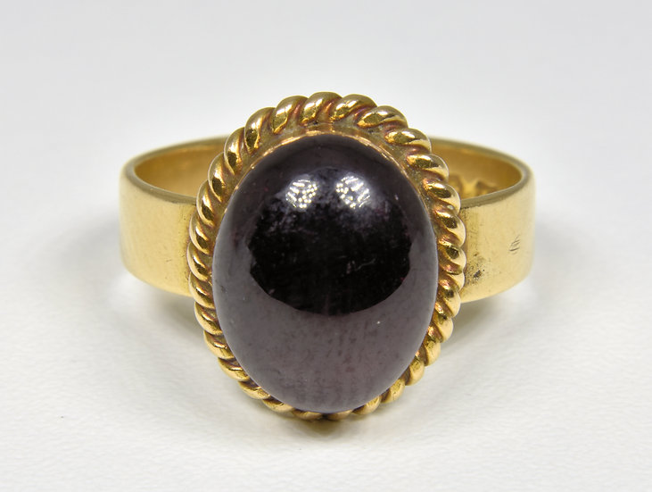 Antique Victorian 15ct Gold Garnet Ring, (Birmingham, 1867)