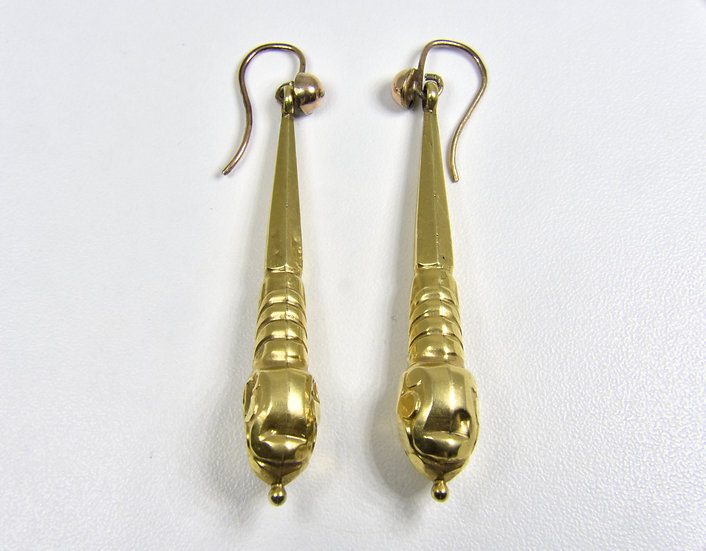 Antique Victorian 14ct Gold Drop Earrings, C1880