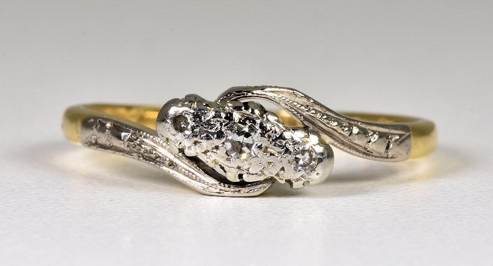 Antique Art Deco 18ct Gold & Platinum Diamond Twist Ring, (1930's)