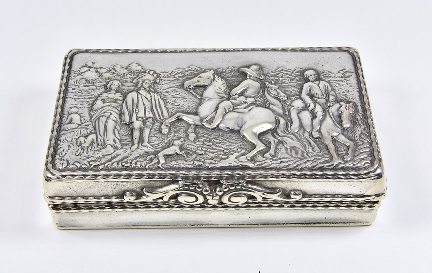 Antique Edwardian German Export Solid Silver Snuff Box, Neresheimer & Sohne 1909