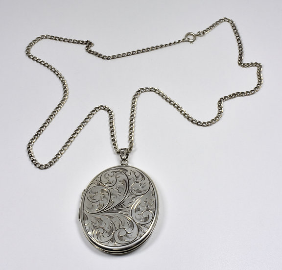 Vintage Solid Silver Large Locket & Chain, (Nathan Brothers, 1974)
