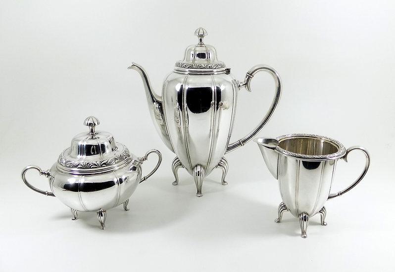 Antique WMF Art Nouveau Silver Plated 3 Piece Tea Set, (Ostrich Mark c1905)