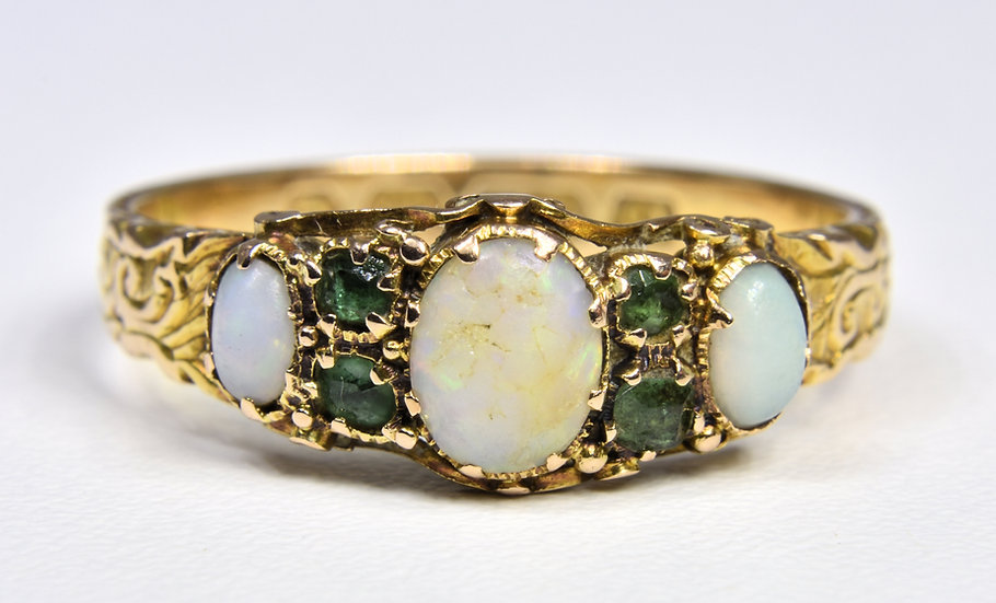 Antique 15ct Gold Victorian Emerald & Fire Opal Ring, (Birmingham, 1865)