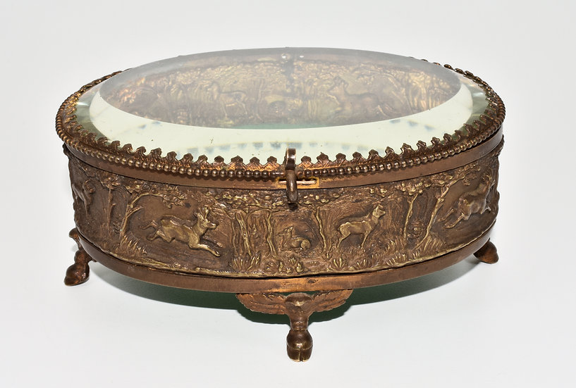 Antique Victorian French Bronze Jewellery/Trinket Box/Casket, (c1880)