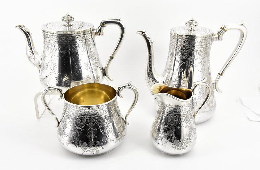 Antique Victorian Elkington & Co Silver Plated 4 Piece Tea Set, 1880