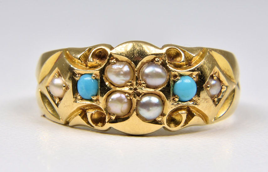 Antique Edwardian 18ct Gold Turquoise & Pearl Ring, (Birmingham,1911)
