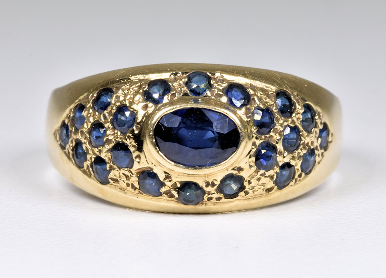 Vintage 9ct Gold Sapphire Dome Ring, 1940/50's