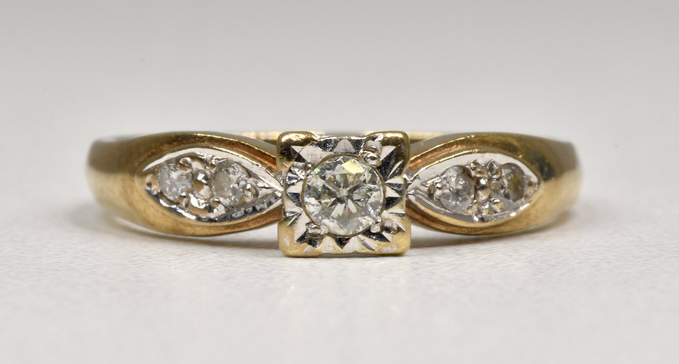 Vintage 9ct Gold & Platinum Solitaire Diamond Ring, 1980's