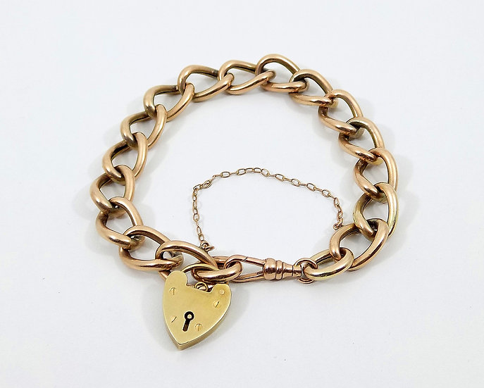 Vintage 9ct Rose Gold Link Bracelet With Heart Padlock