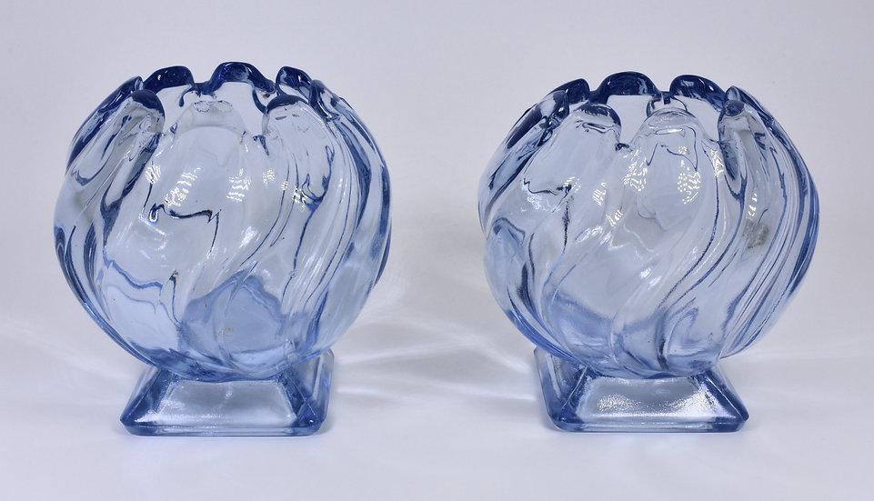 Antique Art Deco Bagley Glass Pair Of Equinox Posy Vases, Blue, 1930's