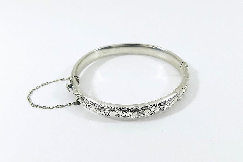 Vintage Sterling Silver Hinged Bracelet, 1968, Weight 12.06g
