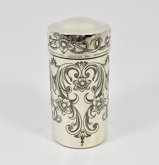 Antique American Solid Silver Talcum Powder Shaker, (Gorham Silver, c1935)