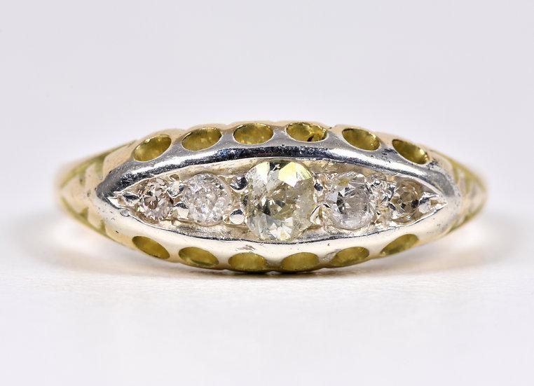 Antique Art Deco 18ct Gold & Platinum 5 Stone Diamond Boat Ring, Original Case