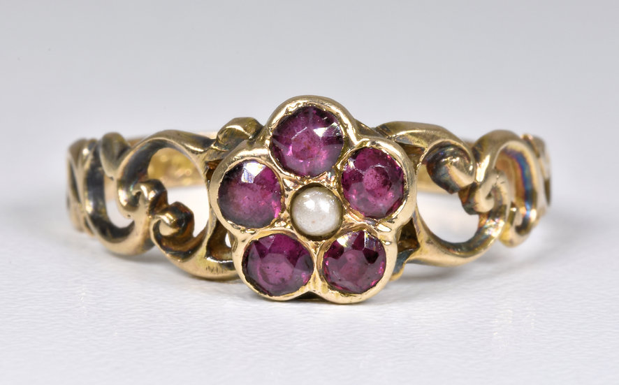 Antique Victorian 9ct Gold Forget Me Not Garnet & Pearl Memorial Ring, 1871