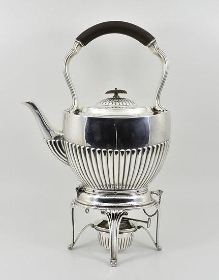 Antique Edwardian Silver Plated Spirit Kettle & Stand (William Hutton, c1905)