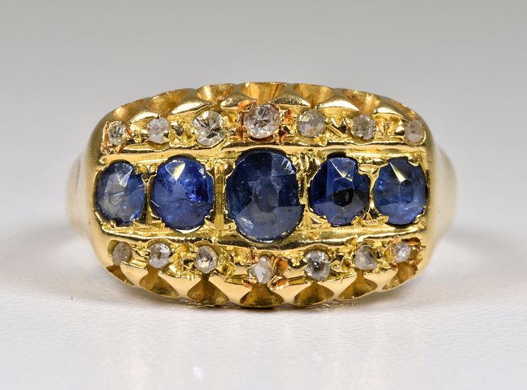 Antique Edwardian 18ct Gold Sapphire & Diamond 3 Row Gallery Ring, (1902)