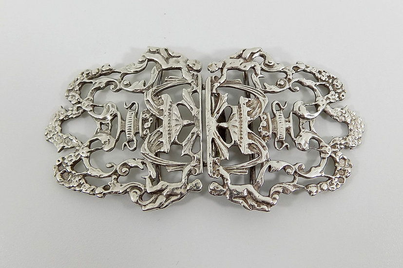Vintage English Solid Sterling Silver Nurses Buckle, (1970, 52g)