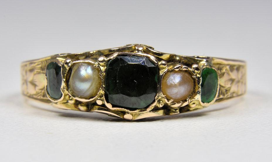 Antique Georgian 12ct Gold Emerald & Pearl Ring, (c1800)