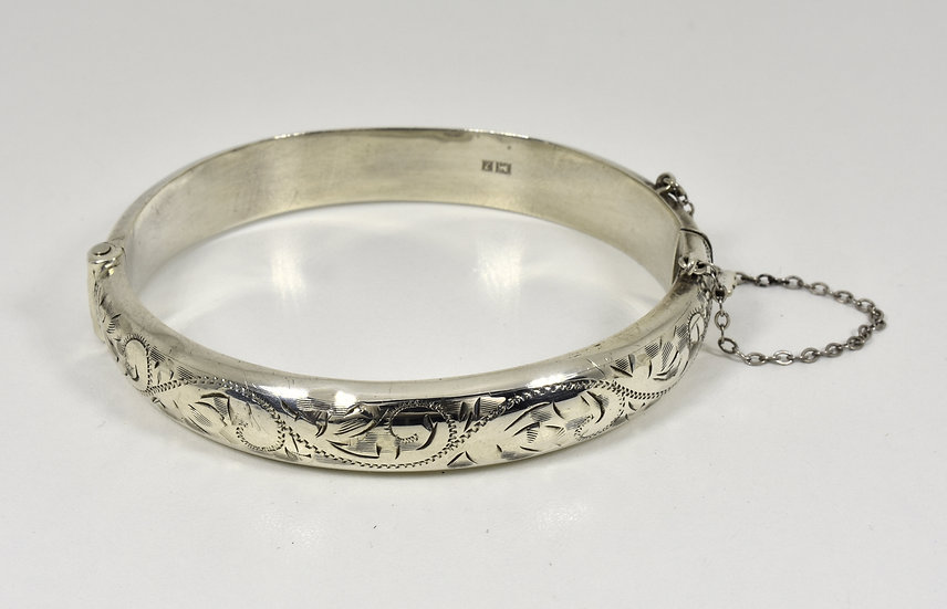 Vintage Solid Sterling Silver Hinged Bracelet, (Birmingham, 1958)