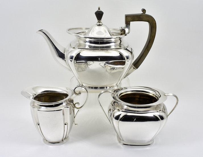 Antique English Edwardian Silver Plated 3 Piece Tea Set (Roberts & Belk, c1905)