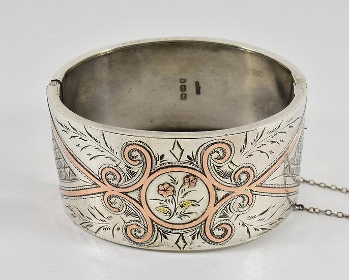 Antique Victorian Solid Silver Aesthetic Hinged Bracelet ( G. Loveridge,1884)