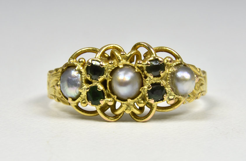 Antique Victorian 15ct Gold Emerald & Seed Pearl Ring, (1862)