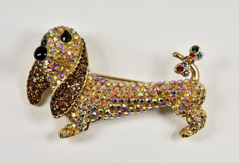 Butler & Wilson Dachshund dog Brooch, Swarovski Crystals